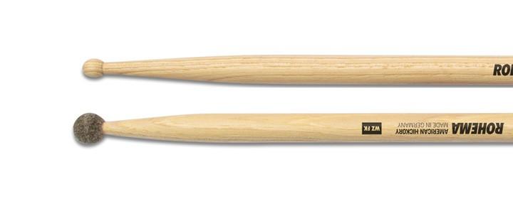 Drumstick WZ mit Filzkugel Lackiert aus Hickory