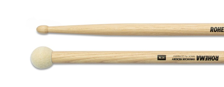 Drumstick 5C mit Filzkugel Lackiert aus Hickory