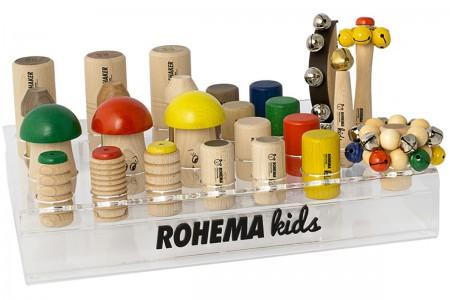 Set mit 26 Rasselinstrumenten und praktischem Plexiglas-Display