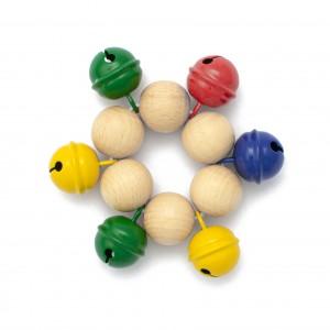 Armband mit 6 farbigen Kreuzglöckchen und heller Klangfarbe