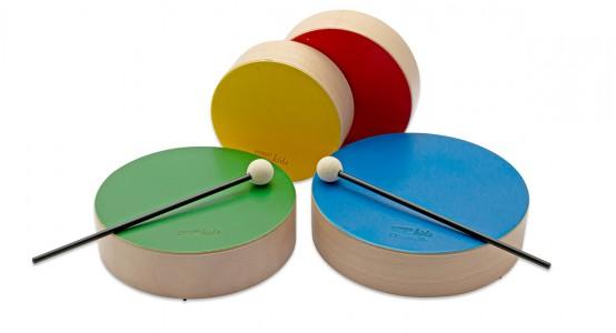 Holztrommeln Set bunt mit 4 farbigen Holztommeln