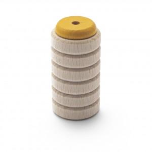 Scrapy Shaker gelb aus Buche mit mittlerem Glocken-Klang